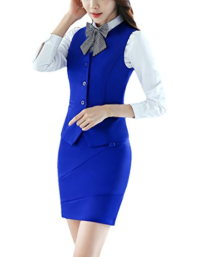 - MFrannie Women Button Down Vest and Skirt Formal Work 2 Pieces Suit Set Blue L