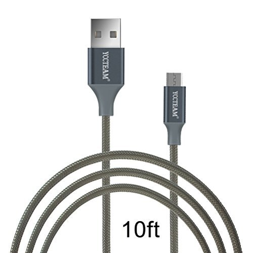 10 Feet/3M Micro USB Cord,YCCTEAM Premium USB 2.0 Sync Data Fast Charging Cable Cord For Samsung Galaxy S7/ S6 / Edge, S4/ S3/ Note 5 / 4 / 2,Google Nexus,LG,HTC,Nokia,Blackberry And More (Gray)