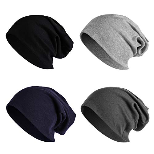JOYEBUY 4 Pack Women Men Stylish Thin Hip-hop Soft Stretch Knit Slouchy Beanie Hat Skull Cap (Style F) ()