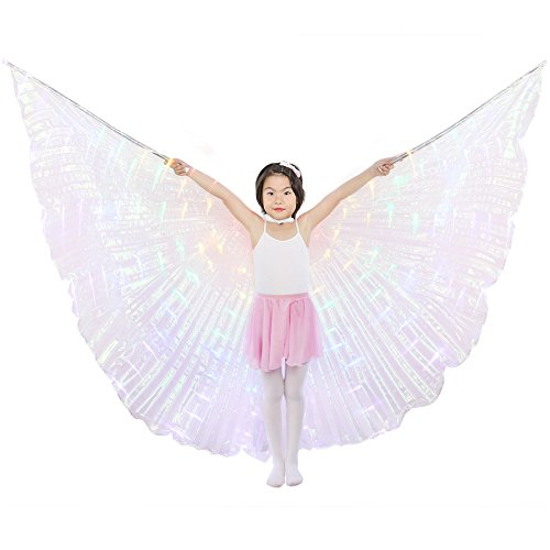 Dance Fairy Belly Dance LED Angel Isis Wings with Flexible Sticks (Colorful-Child) -