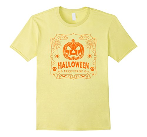 Mens Halloween Costume Vintage Pumpkin Classic T Shirt Medium Lemon for $<!--$14.95-->