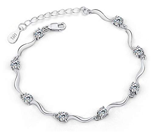 (925 Sterling Silver Eight Four Claws Crystal Zircon Bracelets & Bangles For Women Valentine's Day Present white)