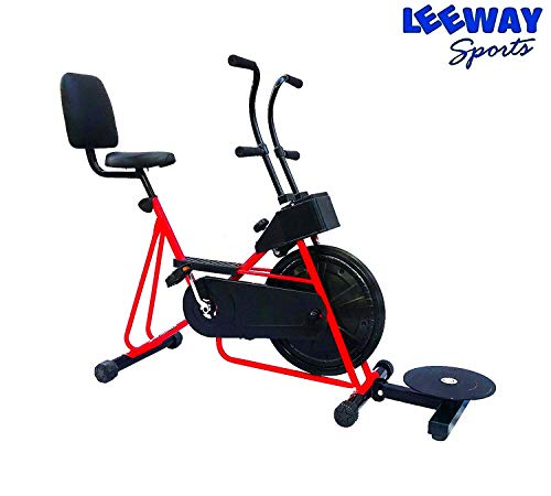 Exercise Cycle with Back Support with Twister by Leeway| Fix Handle Gym Bike for Home Use| Deluxe Design of Fitness| Lifeline for Cardio Work Out| Weight Loss Cross fit Equipment| Stamina 201 -(RED)