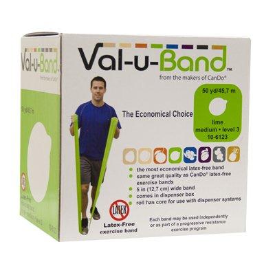 - Val-u-Band Latex Free Exercise Band, Lime - Level 3, 50 Yard Roll/Box (1542694)
