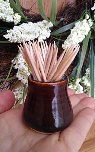 - Toothpick Holder, Handmade Small Pottery Ceramic Vase, Amber Brown