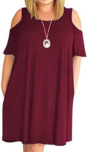 74f93eec368 Kancystore Women Plus Size Dresses Short Sleeve Cold Shoulder Casual T-Shirt  Swing Dress with
