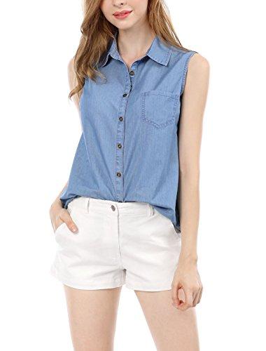 Allegra K Women's Single Breasted Sleeveless Shirt L Blue