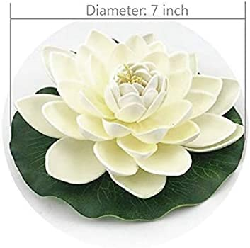 Shumo 6Pcs Artificial Floating Foam Lotus Flowers,With Water Lily Pad Ornaments White,Perfect for Patio Koi Pond Pool Aquarium Home Garden Wedding Party Special Event Decoration
