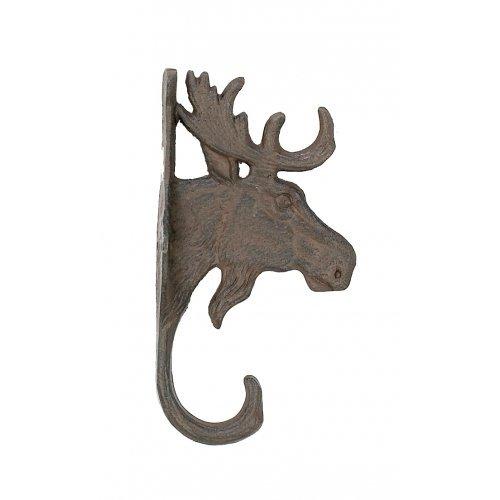 (Cast Iron Moose Head Wall Key Rack Holder Hooks Coat Hook Home)