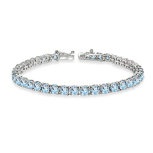 Sterling Silver 4mm Blue Topaz Round-cut Tennis Bracelet