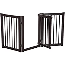 "Pawhut 30"" x 61"" 3 Panel Wooden Freestanding Adjustable Pet Safety Fence for Dogs with Gate"
