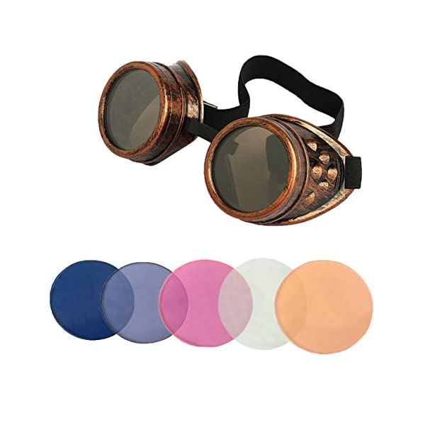 Minidot Steampunk Antique Safety Goggles with 5 Color Set of Rechangeable Lens 4