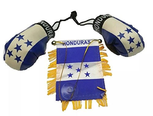 Honduras Car Flag (3pc, Honduras flag, Honduran flag mini banner & Boxing golves Rear view mirror)