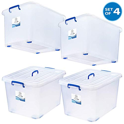Large Durable Storage Box 24 Gal White Semi-Transparent Plastic Storage Bins with Lids and Wheels - Stackable Space-Saver Containers - Tough and Secure Organizers for Home, Office, School - Set of 4 (Plastic Storage Containers With Wheels And Handle)