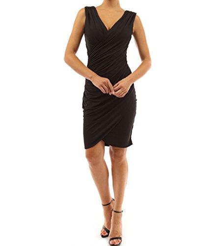 Sexy De Genou Sans Robe Au Pour Femme Elastique Moulante V Manche Noir Col Soirée Acvip Foncé 4FqwUPxdnU