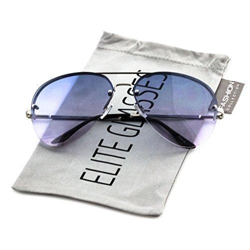 Elite Gradient Oceanic Lens Oversized Rimless Metal Frame Unisex Aviator Sunglasses (Silver Frame/Blue Pink Lens, - Blue Gradient Sunglasses