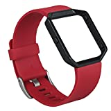 V-Moro Fitbit Blaze bands, Accessory Classic Band Bracelet Replacement Strap Sport Bands with Metal Frame For Fitbit Blaze Smart Fitness Watch (1Silicon Red&Metal Frame Black, Large)