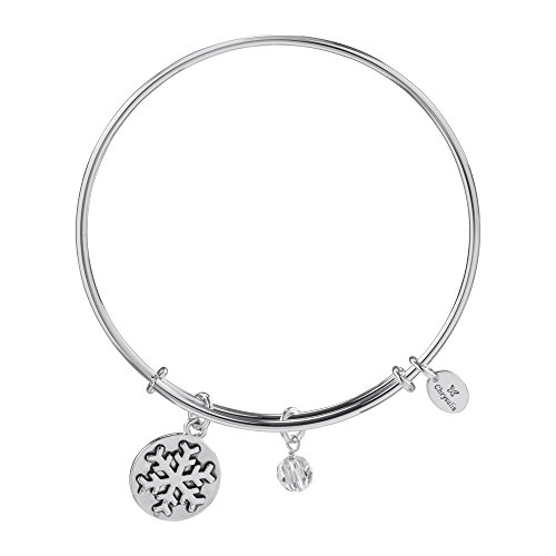 Chrysalis Holiday Snowflake Pendant Charm Expandable Bangle Bracelet, Silver Rhodium (Plated Snowflake Charm)