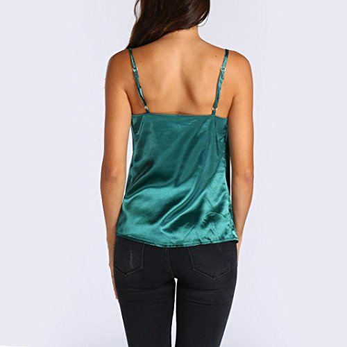 Sans Casual Sexyville Tops T Dbardeur Gilet Camisole Vert Manche Femmes Chemises Solide Et Shirt ZHYWwISqY1