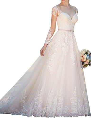 Hochzeitskleider Linie Langarm Damen Prinzessin 2018 Lang Weiß A Changjie Brautkleid Illusion xtPnF1aqfw