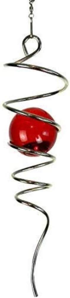 2x Gazing Ball Spiral Tail Decorative Wind Spinner Tail Glass Orb Yard Decor