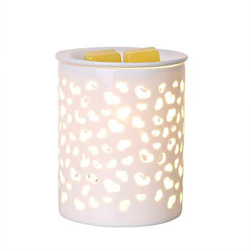 COOSA Ceramic Heart-Shaped Pattern Oil Warmer Electric Incense Wax Tart Burner Fragrance Candle Wax Warmer Night Light Aroma Decorative Lamp for Home Office Bedroom Living Room Gifts & Decor