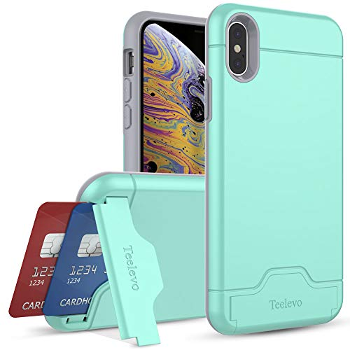 Teelevo Wallet Case for iPhone Xs/iPhone X - Dual Layer Case with Card Slot Holder and Kickstand for Apple iPhone Xs (2018) and iPhone X (2017) - Mint Green