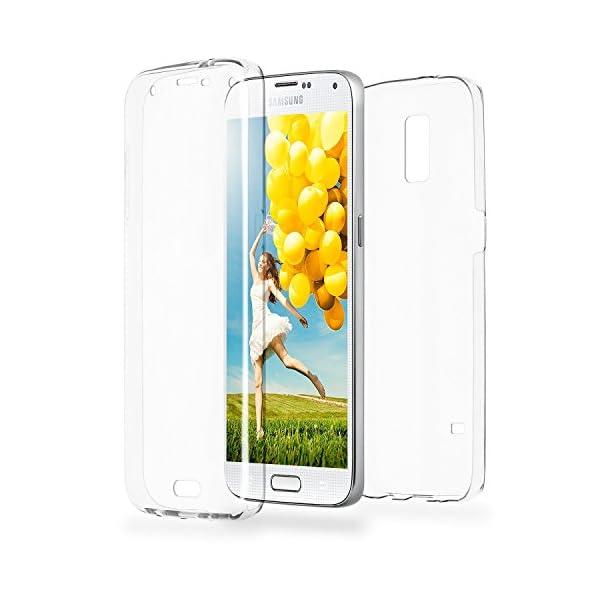 COPHONE® Funda Samsung Galaxy S5, Transparente Silicona 360°Full Body Fundas para Samsung Galaxy S5 Carcasa Silicona Funda Case. 1