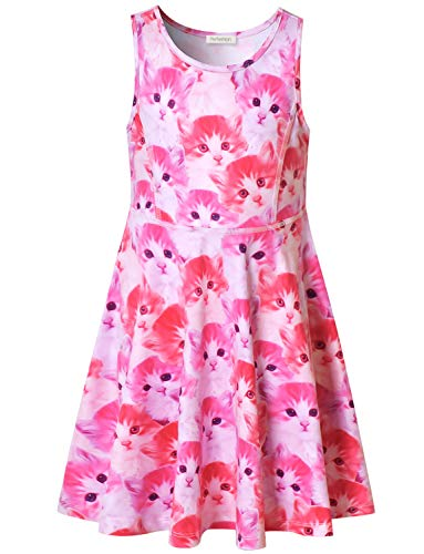 Girl's Summer Dress Sleeveless Swing Cute Cat Birthday Party Outfits Dresses -