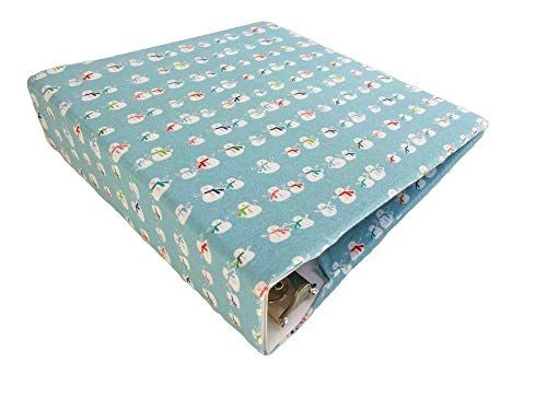 3 Ring Binder Cover in Snowmen Stretch Fabric for 2 inch to 3 in Wide Standard Letter Binder for Recipe Planner Photo