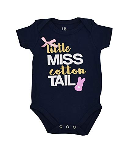Unique Baby Girls Little Miss Cotton Tail Easter Bunny Onesie (12 Months) Blue