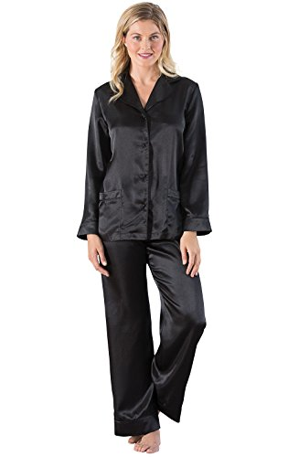 PajamaGram Satin Women's Pajamas with Button-up Top, Black, XLG (16) Xlg Satin