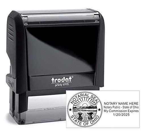 (Trodat Black Notary Stamp | Self Inking, Printy 4915, 2-3/4x1 Inch Rectangular Prints | Ohio)