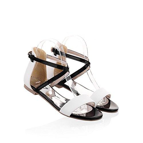 Polsino Pu Voguezone009 Con Toe Open Colori Morbido Materiale Sandali Womens Bianco Assortiti wnqvnUT