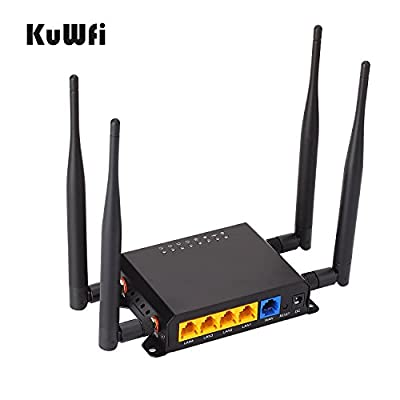 KuWFi 300Mbps 3G 4G LTE Car WiFi Wireless External antenna Router Extender strong signal OpenWRT Car WIFI Router with USB Port SIM Card Slot with 4X5 dbi antenna Support Sprint 4G and Europe