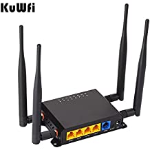 KuWFi 300Mbps 3G 4G LTE Car WiFi Wireless External antenna Router Extender strong signal OpenWRT Car WIFI Router with USB Port SIM Card Slot with 4pcs5dbi antenna Support AT&T Europe Middle East