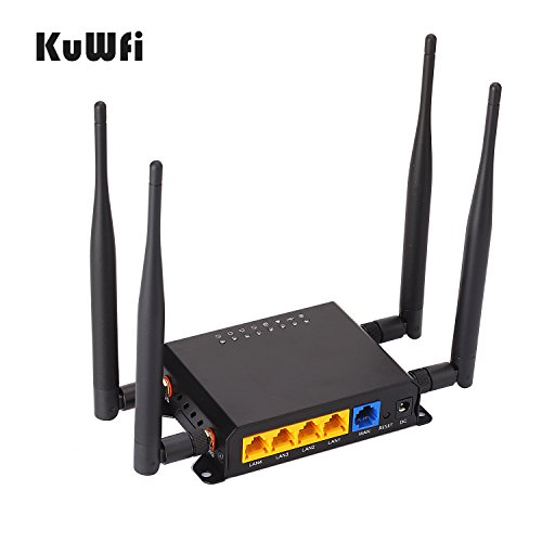 KuWFi 300Mbps 3G 4G LTE Car WiFi Wireless External antenna Router Extender strong signal OpenWRT Car WIFI Router with USB Port SIM Card Slot with 4pcs5dbi antenna Support AT&T Europe Middle East by KuWFi