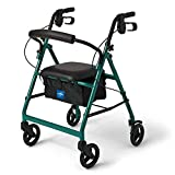 Medline Aluminum Rollator Walker with Seat, Folding Mobility Rolling Walker has 6 inch Wheels, Green
