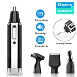 Nose Hair Trimmer Nose Hair Trimmer For Men Wet/Dry Electric Nose And Ear Eyebrow brow Sideburn 4 in 1 Professiona USB Rechargeable Waterproof Stainless Steel Rotation Blade (Black)