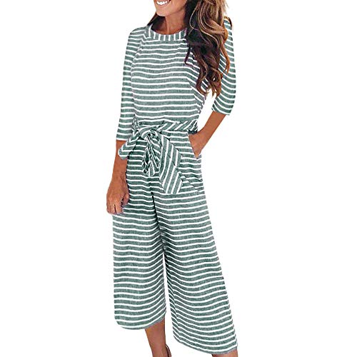 Morecome, Women Trend Half Sleeve Striped Casual Clubwear Wide Leg Pants Outfit Jumpsuit