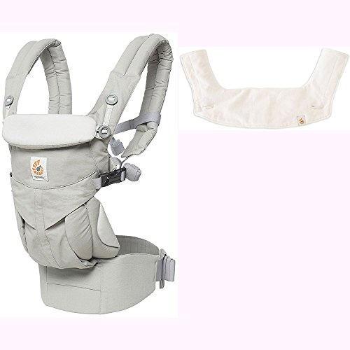 Ergo Baby Omni 360 All-in-One Ergonomic Baby Carrier with Teething Pad and Bib - Pearl Grey/Natural by Ergobaby