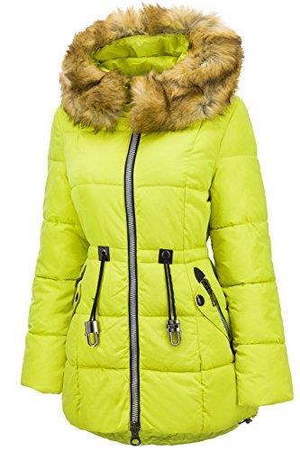 jaune fluo matelasse capuche longue pour d'hiver femme duvet en Manteau aspect fourrure veste 7w6PpfqWx