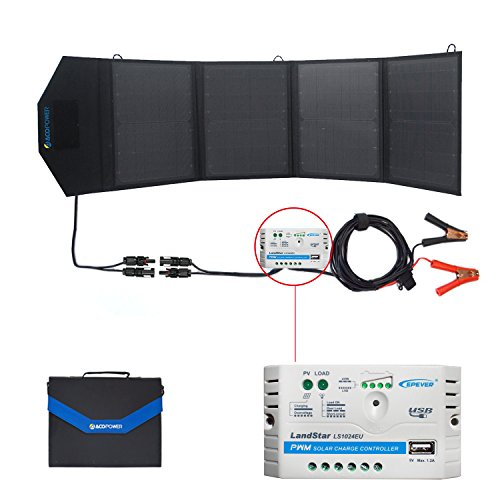 ACOPOWER 12v 50W Portable Solar Charger Foldable Waterproof Solar Panel Kit & 5A Charge Controller USB 5V Output For Cell Phone