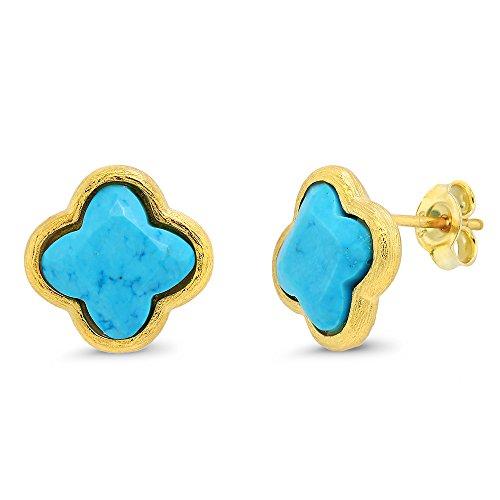 Sterling Silver Flower Shape Simulated Turquoise Diamond Cut Stud Earrings (Stud Turquoise Diamond)
