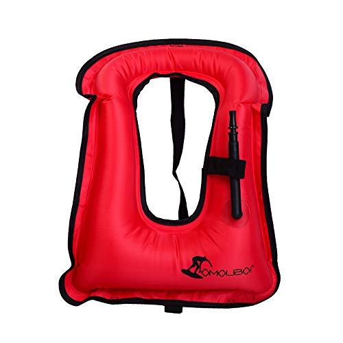 (OMOUBOI Adult Inflatable Life Jackets Snorkel Vest Swimming Life Vest for Men/Women Travel PortableSnorkeling Jacket for Diving Swimming Safety (Red))