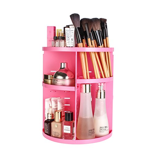 360-Degree Rotating Makeup Organizer, ELOKI Adjustable Spinning Cosmetic Storage Shelves Unit Compact Size with Large Capacity for Different Types of Cosmetics and Skin Care Accessories, Pink from ELOKI