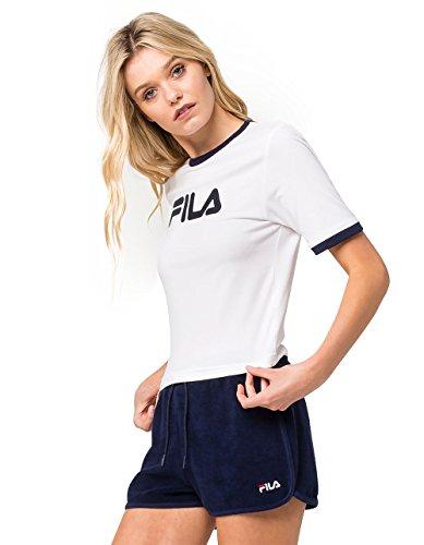 Fila Women's Tionne Crop T-Shirt, White, Peacoat, XS