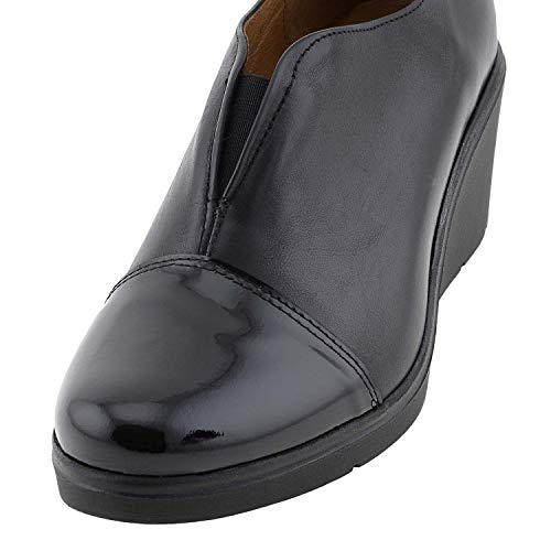 Zapatos Cuña Negro Zapatos Piel Zapatos Negro Piel Cuña Piel Cuña qCO4waO