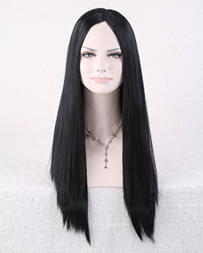 Easy To Do Celebrity Costumes (Cool2day® Cosplay 70cm Long Straight Black Hair No Bangs Women's Party Wig JF011662)