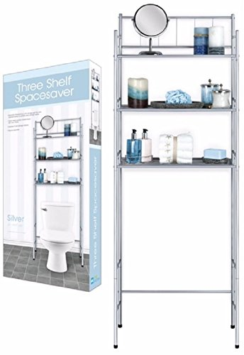 DINY Home Collections 3 Shelf Over The Toilet Spacesaver Easy to Assemble (Silver)